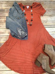 Striped Carly, Denim Jacket, Brown Booties