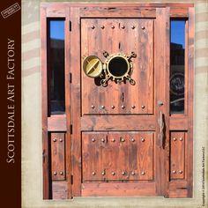 Custom door with ships porthole window, shown open