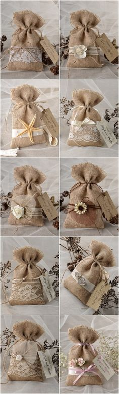 Rustic country burlap wedding favor bags @4LOVEPolkaDots