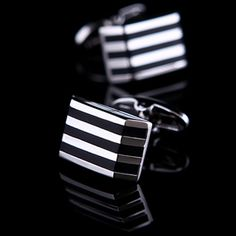 Black Onyx Striped Cufflinks