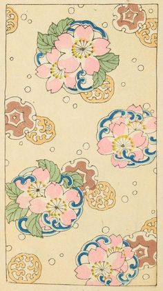 Japanese design, print pink flowers.