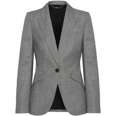 Alexander McQueen Wool-jacquard blazer ($1,970) ❤ liked on Polyvore featuring outerwear, jackets, blazers, suits, tailored blazer, wool blazer, wool jacket, slim blazer and slim fit blazer