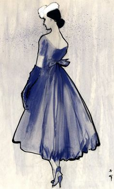 Fashion illustration by René Gruau, 1965, Lanvin, International Textiles, Brush drawing in ink and watercolor.
