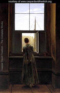 """Woman at a Window"" 1822 - Caspar David Friedrich - www.caspardavidfriedrich.org ~~ Location:Nationalgalerie, Berlin, Germany ~~ Dimensions:14.57 inch wide x 17.32 inch high"
