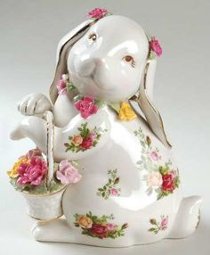 Medium Rabbit Figurine in the Old Country Roses pattern by Royal Albert China