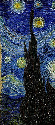 Vincent Van Gogh 'Starry Night' detail left