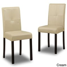 Safavieh Loire Leather Nailhead Dining Chairs Set of 2 by
