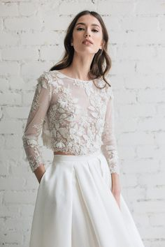 This Bridal Lace Top Bridal Separates Long Sleeve Wedding Top is just one of the custom, handmade pieces you'll find in our bridal gowns & separates shops. Two Piece Wedding Dress, Dream Wedding Dresses, Bridal Dresses, Wedding Gowns, Wedding Lace, Trendy Wedding, Wedding Crop Top, Lace Bride, Lace Wedding Dress Topper