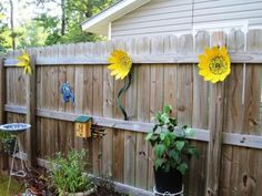 Whimsical Yard Art from recycled plastic pots
