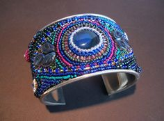 Embroidered Beaded Cuff Blue Beaded HandmadeWide by EclecticPixie
