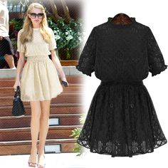 Summer New High-necked Lace Dress on Luulla