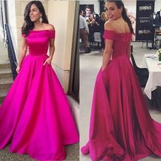 Charming A-Line Off-the-Shoulder Sweep Rose Stain Prom Dresses PD-30849