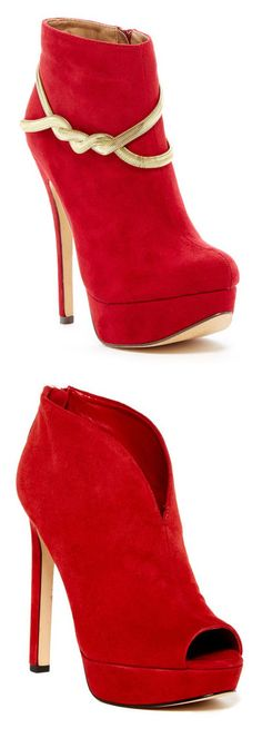 """""""Footwear 5"""" by lalalace-1 ❤ liked on Polyvore featuring shoes, boots, ankle booties, botas, heels, red, ankle boots, gold booties, platform boots and heeled ankle boots"""