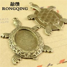 Cheap necklace diy, Buy Quality diy accessories directly from China necklace craft Suppliers: RONGQING 20pcs/lot Antique Bronze Tortoise Cabochon Settings 25*18MM Trendy Animal Cameo Pendant