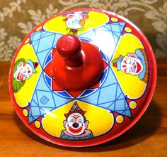 Vintage 1950s Chein Tin Litho Spinning Toy Top Circus Clowns Blue Star | eBay