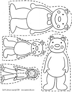 3 Bears Printable- use to make magnet board pieces for retelling Goldilocks & the Three Bears and/or hotglue to large popcicle stick like puppets for same purpose Book Activities, Preschool Activities, Fairy Tales Unit, Bear Coloring Pages, Coloring Worksheets, Colouring Sheets, Fairy Tale Theme, Traditional Tales, Goldilocks And The Three Bears