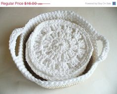 CIJ SALE Set of 6 Crocheted Coasters and Basket by ACCrochet, $12.00