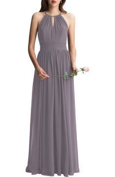 The picture of romantic elegance, this gently gathered chiffon gown features slim keyholes in front and back that complement the shoulder-baring cut. Attractive ruching defines your waist and the flattering A-line skirt flows dreamily to the floor. Style Name:#levkoff Keyhole Chiffon A-Line Gown. Style Number: 5342442. Available in stores.