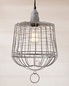EGG BASKET PENDANT LAMP Wire Cage in Weathered Zinc Finish