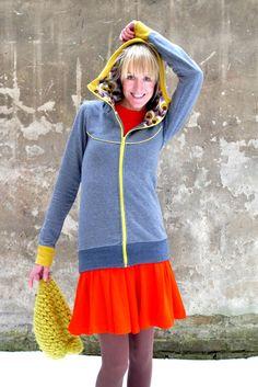 """Sweatshirts - KAPUZENJACKE """"MIRI COME BACK"""" IN GRAU - ein Designerstück von Bonnie-and-Buttermilk bei DaWanda"""