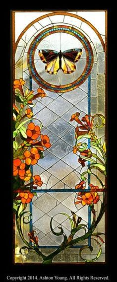 """Butterfly Window No. by Ashton Young. All Rights Reserved. Stained Glass Door, Stained Glass Designs, Stained Glass Panels, Stained Glass Projects, Stained Glass Patterns, Leaded Glass, Mosaic Glass, Glass Butterfly, Mellow Yellow"