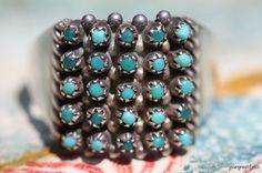 Vintage Signed Southwestern Zuni Sterling Silver Snake Eye Turquoise Ring