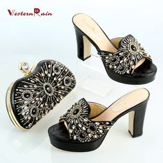WesternRain New Style Dark Black Rhinestones Luxury Wedge Sandals With Women Evening Party Bag Set