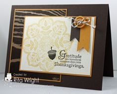 Stampin' Up! Fall  by Rita Wright at Rita's Creations  Nice layout and colour mix. COuld use daydream medallions