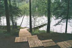 Wooden path to the lake |