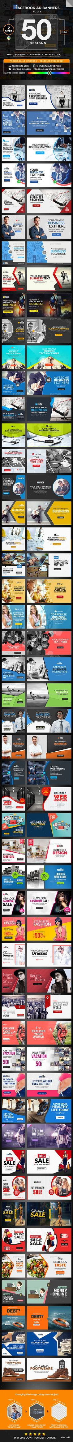 Multipurpose Facebook Newsfeed Ads Design Template - 50 Designs - 2 Sizes Each - Social Media Banner Ads Design Template PSD. Download here: https://graphicriver.net/item/multipurpose-facebook-newsfeed-ads-50-designs-2-sizes-each/18711811?ref=yinkira