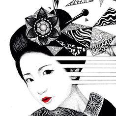 Geisha - Pontilhismo em Nankin - #drawing #draw #art #arte #nankin #nanquim #japan #japanese #gueixa #geisha #geiko #gueigi #woman #psychedelic #surreal #painting #pintura #illustration #mandala psicodelico #psicodelia #japao #japonesa #desenho #instartist_ #instartists #zentangle