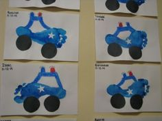october crafts for kids Police car footprints Police Officer Crafts, Police Crafts, Toddler Art, Toddler Crafts, Crafts For Kids, Toddler Themes, Daycare Crafts, Baby Crafts, Community Helpers Crafts