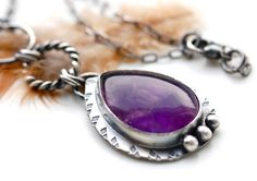 Purple Velvet Necklace Handcrafted Silver Metalwork with Amethyst Oxidized