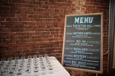 Custom Tasting Glasses & Menu Board for #MeettheMakersEvent in our #GreatRoom |Photography by Alexandria Stewart