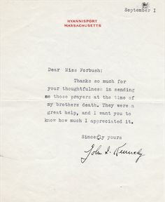 August   President John F Kennedy On The Death Of His