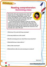 Reading comprehension: Swimming class