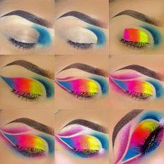 Makeup Eye Looks, Eye Makeup Steps, Eye Makeup Art, Eyeshadow Makeup, Rainbow Eye Makeup, Colorful Eye Makeup, Baddie Makeup, Sexy Makeup, Comic Makeup