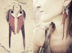 tribal LEATHER FEATHER  EARRINGS brown copper gold by SiamicWear, €15.00