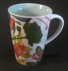 2009 Starbucks Coffee Mug Watercolor Floral Latte Cup 16 oz Bone China Flower   #Starbucks