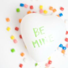 Give your loved one a custom conversation heart balloon filled with candy!