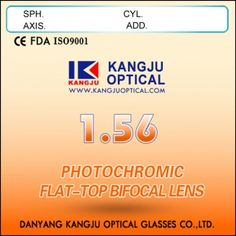 1.56 Photochromic Flat-Top Bifocal Lens Available Color: Grey/Brown Fast dark, fast clear Refraction index Nd=1.56 Diameter: 70/28mm Abbe value: 38 Specific gravity: 1.28 High scratch resistance 35% thinner than CR-39 lens HMC+EMI coating and Uv protection