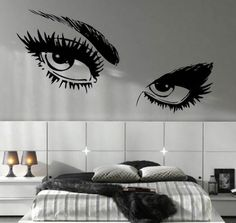Mysterious Eyes Look Mural Wallpaper For Your White Bedroom Design