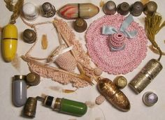 Vintage Thimbles, thimble holders and needle holders