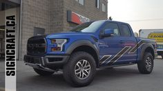 A 2017 Ford Raptor from last week. Custom stripes on the side to break up the blue and a roush themed hood wrap with the raptor logo in negative. Always a pleasure to work with Orchard Ford Sales Ltd. and Family Ford LTD. Ford Ltd, Truck Decals, Ford Raptor, Car Advertising, Body Wraps, Car Wrap, Body Care, Monster Trucks