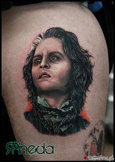 Demoniczny golibroda Johny Deep Tattoo By Rich Pineda Deep Tattoo, State Tattoos, Movie Tattoos, Fresh Tattoo, Johnny Depp Movies, Fear And Loathing, The Lone Ranger, Professional Tattoo, Tattoo Studio