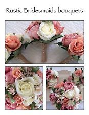 Artificial Rustic Bridemaids Bouquet with beautiful peonies,roses,hessian stem
