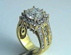 5.59ct F-SI1 Round Diamond Engagement Ring 18k Yellow Gold EGL certified JEWELFORME BLUE