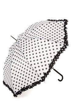 So Rainy - 50s Pretty raindots out of the sky! umbrella white and black polkadot