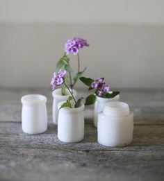 Milk glass jars.