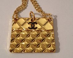 Chanel Pendant -Authentic Signed Quilted Bag Pendant Charm in MINT CONDITION